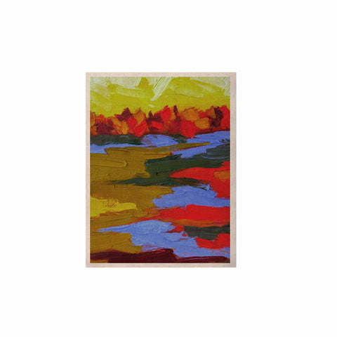 "Jeff Ferst ""Fall"" Yellow Orange Abstract Contemporary Painting Mixed Media KESS Naturals Canvas (Frame not Included)"
