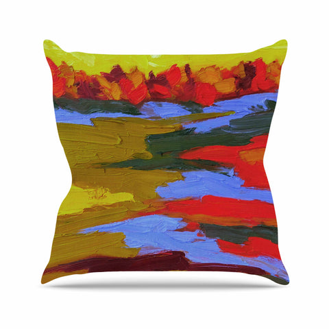 "Jeff Ferst ""Fall"" Yellow Orange Abstract Contemporary Painting Mixed Media Throw Pillow"