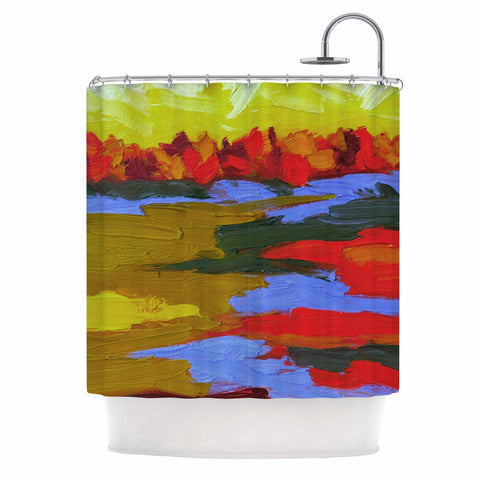 "Jeff Ferst ""Fall"" Yellow Orange Abstract Contemporary Painting Mixed Media Shower Curtain"