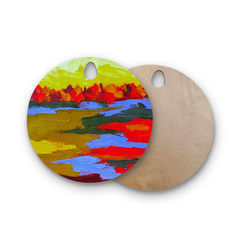 "Jeff Ferst ""Fall"" Yellow Orange Abstract Contemporary Painting Mixed Media Round Wooden Cutting Board"