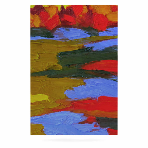 "Jeff Ferst ""Fall"" Yellow Orange Abstract Contemporary Painting Mixed Media Luxe Rectangle Panel"