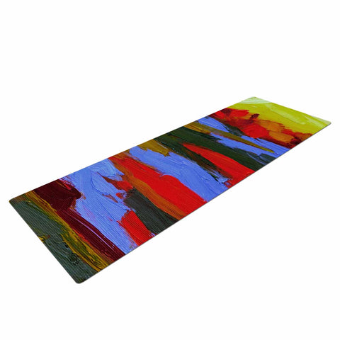 "Jeff Ferst ""Fall"" Yellow Orange Abstract Contemporary Painting Mixed Media Yoga Mat"