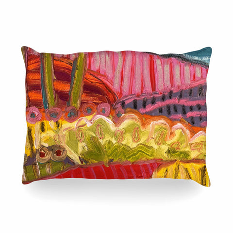 "Jeff Ferst ""5 Saguaros"" Red Multicolor Abstract Modern Painting Mixed Media Oblong Pillow"
