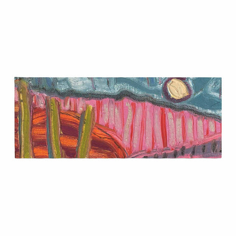 "Jeff Ferst ""5 Saguaros"" Red Multicolor Abstract Modern Painting Mixed Media Bed Runner"