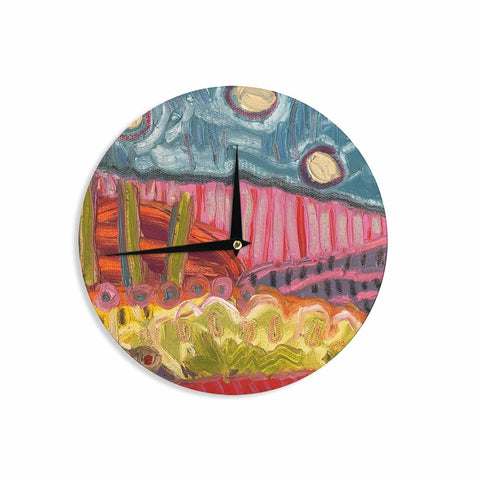"Jeff Ferst ""5 Saguaros"" Red Multicolor Abstract Modern Painting Mixed Media Wall Clock"