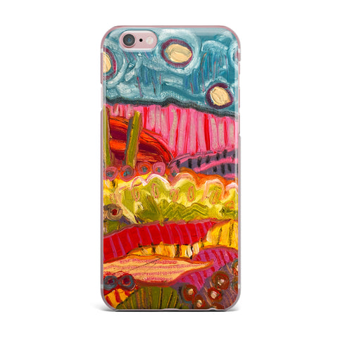 "Jeff Ferst ""5 Saguaros"" Red Multicolor Abstract Modern Painting Mixed Media iPhone Case"