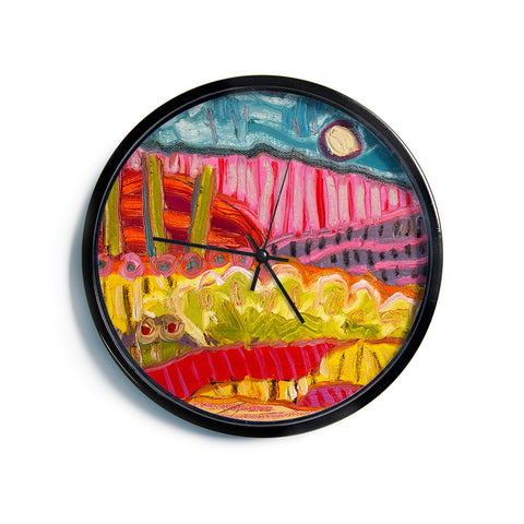"Jeff Ferst ""5 Saguaros"" Red Multicolor Abstract Modern Painting Mixed Media Modern Wall Clock"