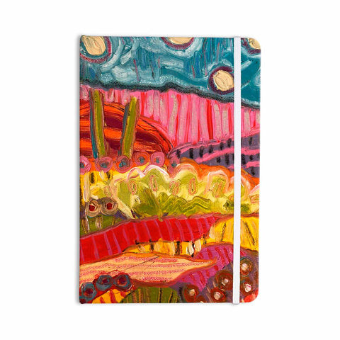 "Jeff Ferst ""5 Saguaros"" Red Multicolor Abstract Modern Painting Mixed Media Everything Notebook"