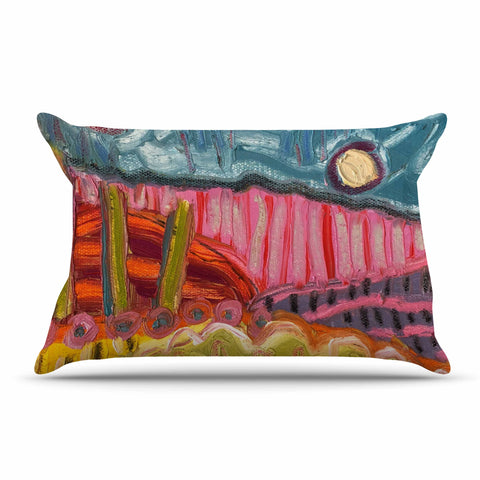 "Jeff Ferst ""5 Saguaros"" Red Multicolor Abstract Modern Painting Mixed Media Pillow Sham"
