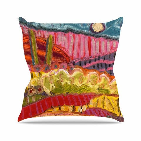 "Jeff Ferst ""5 Saguaros"" Red Multicolor Abstract Modern Painting Mixed Media Throw Pillow"