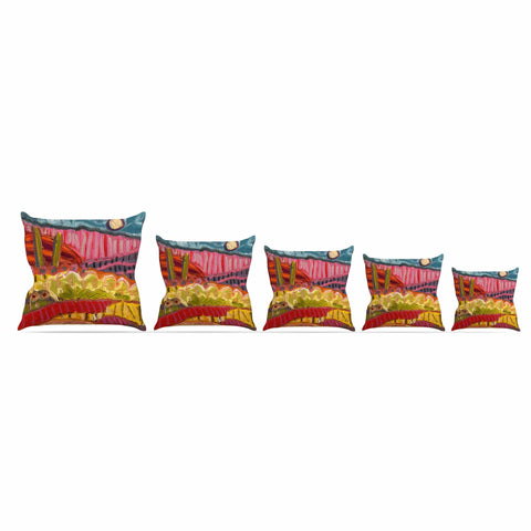 "Jeff Ferst ""5 Saguaros"" Red Multicolor Abstract Modern Painting Mixed Media Outdoor Throw Pillow"