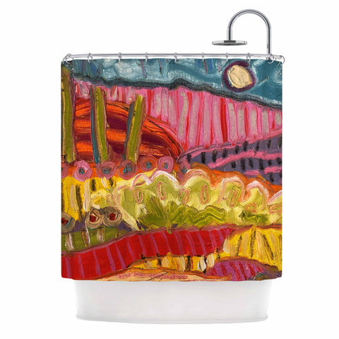 "Jeff Ferst ""5 Saguaros"" Red Multicolor Abstract Modern Painting Mixed Media Shower Curtain"