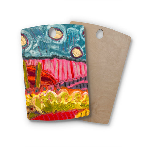 "Jeff Ferst ""5 Saguaros"" Red Multicolor Abstract Modern Painting Mixed Media Rectangle Wooden Cutting Board"