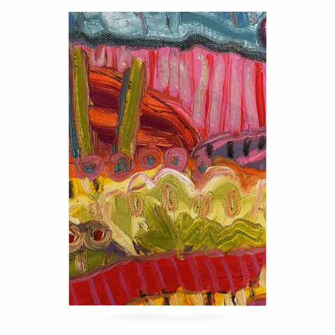 "Jeff Ferst ""5 Saguaros"" Red Multicolor Abstract Modern Painting Mixed Media Luxe Rectangle Panel"