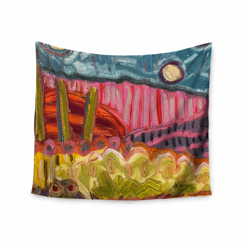 "Jeff Ferst ""5 Saguaros"" Red Multicolor Abstract Modern Painting Mixed Media Wall Tapestry"