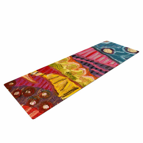 "Jeff Ferst ""5 Saguaros"" Red Multicolor Abstract Modern Painting Mixed Media Yoga Mat"