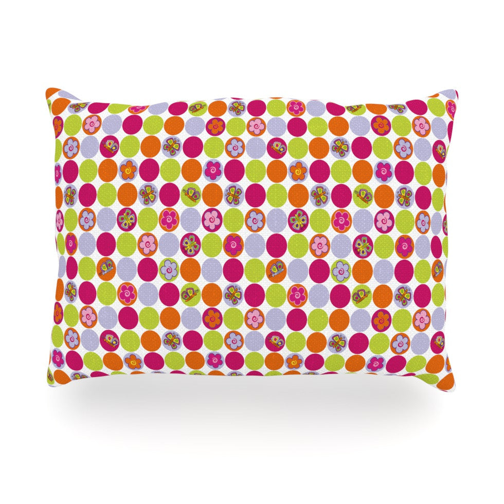 "Julia Grifol ""Happy Circles"" Oblong Pillow - KESS InHouse"