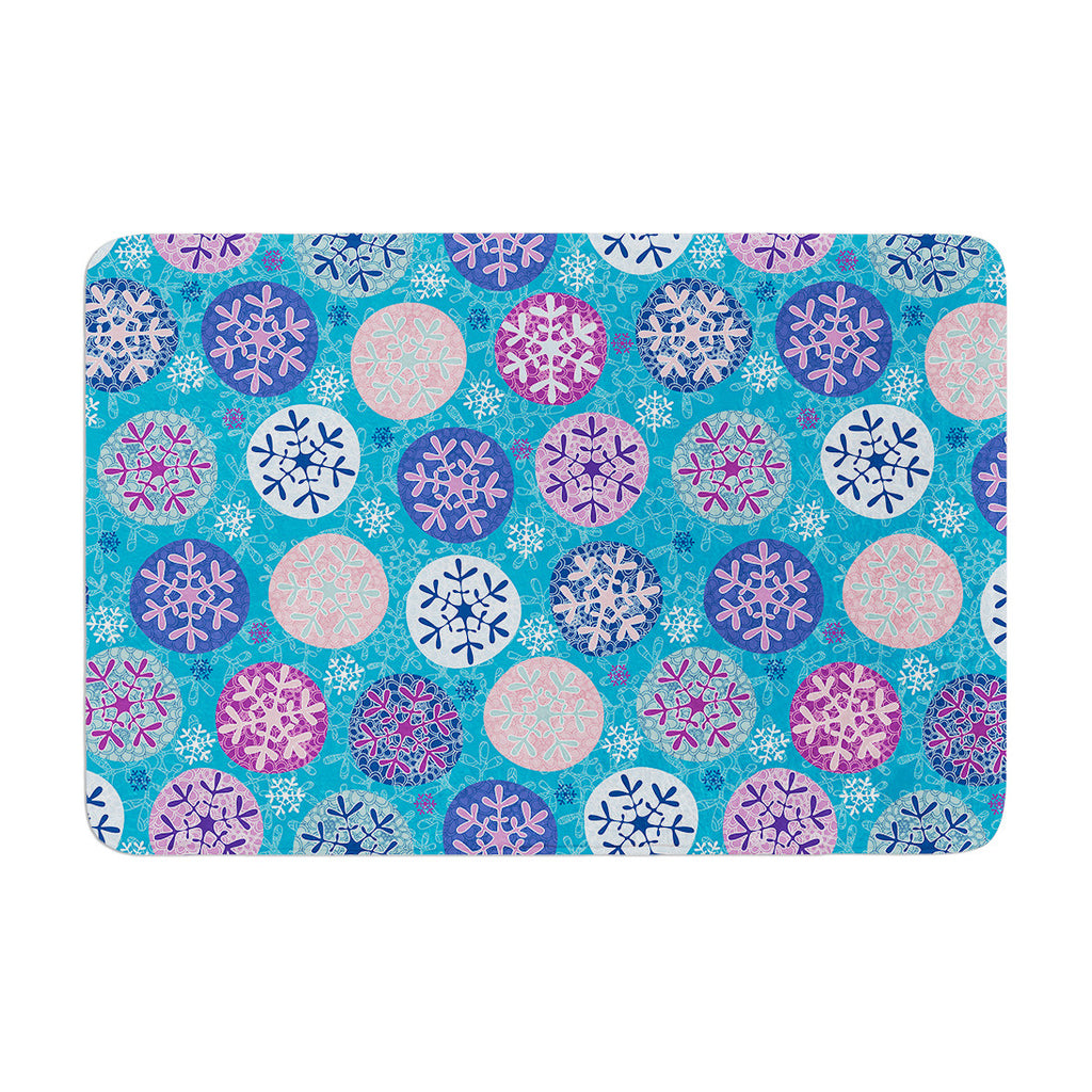 "Julia Grifol ""Floral Winter"" Memory Foam Bath Mat - KESS InHouse"