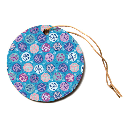 "julia grifol ""Floral Winter""  Circle Holiday Ornament"