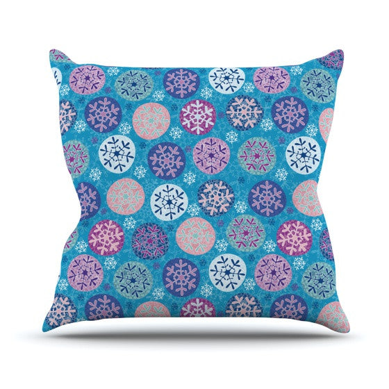 "Julia Grifol ""Floral Winter"" Outdoor Throw Pillow - KESS InHouse  - 1"