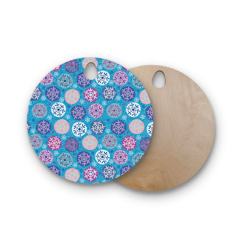 "Julia Grifol ""Floral Winter"" Round Wooden Cutting Board"