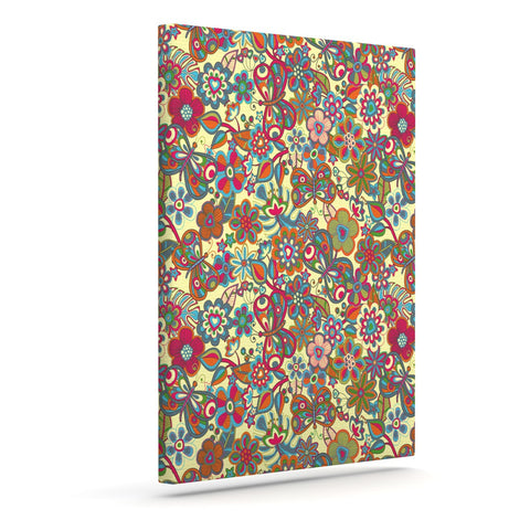 "Julia Grifol ""My Butterflies & Flowers in Yellow"" Outdoor Canvas Wall Art - KESS InHouse  - 1"