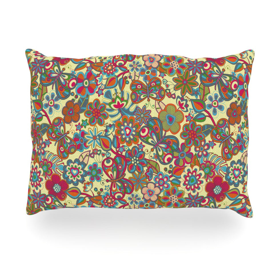"Julia Grifol ""My Butterflies & Flowers in Yellow"" Oblong Pillow - KESS InHouse"
