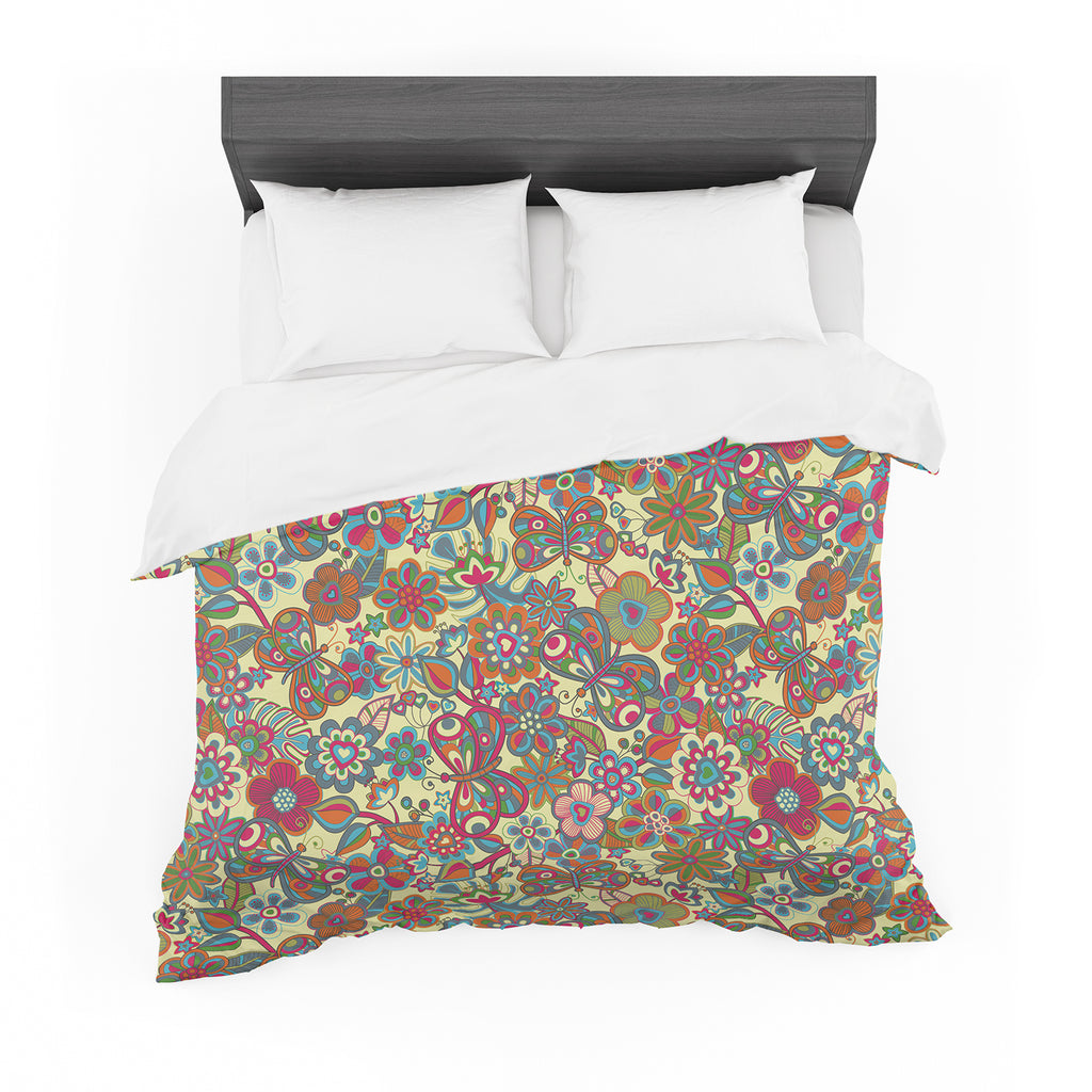 "Julia Grifol ""My Butterflies & Flowers in Yellow"" Featherweight Duvet Cover"