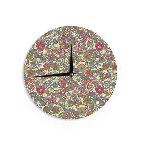 "Julia Grifol ""My Butterflies & Flowers in Yellow"" Wall Clock - KESS InHouse"