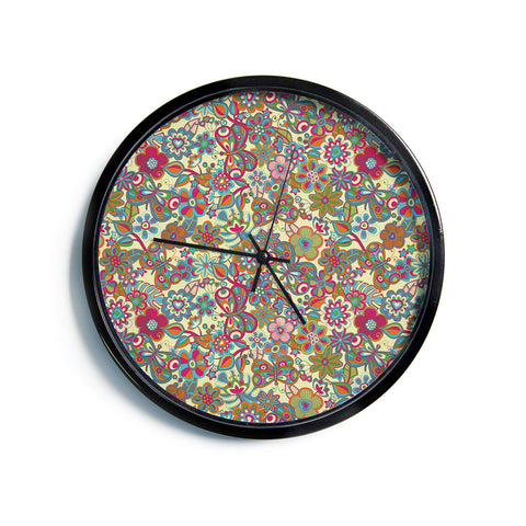 "Julia Grifol ""My Butterflies & Flowers in Yellow""  Modern Wall Clock"