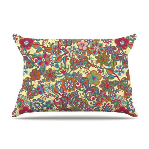 "Julia Grifol ""My Butterflies & Flowers in Yellow"" Pillow Sham - KESS InHouse"