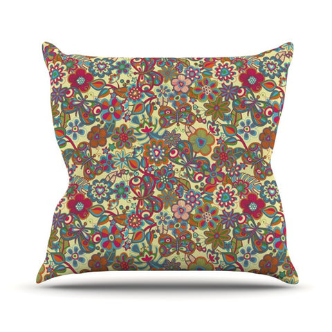 "Julia Grifol ""My Butterflies & Flowers in Yellow"" Outdoor Throw Pillow - KESS InHouse  - 1"