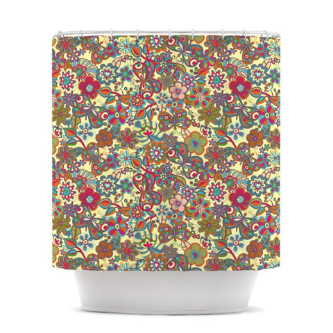 "Julia Grifol ""My Butterflies & Flowers in Yellow"" Shower Curtain - KESS InHouse"