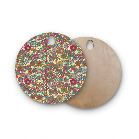 "Julia Grifol ""My Butterflies & Flowers in Yellow"" Round Wooden Cutting Board"