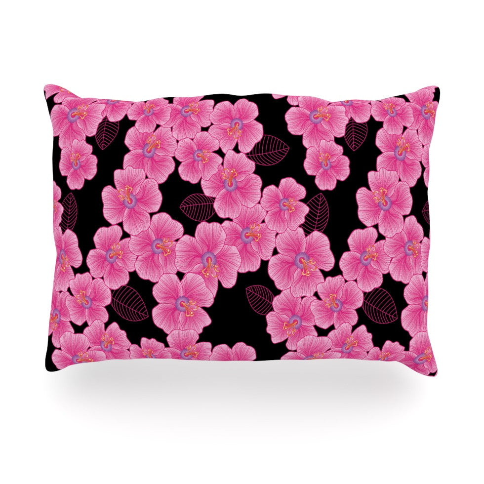 "Julia Grifol ""Pink on Black"" Oblong Pillow - KESS InHouse"