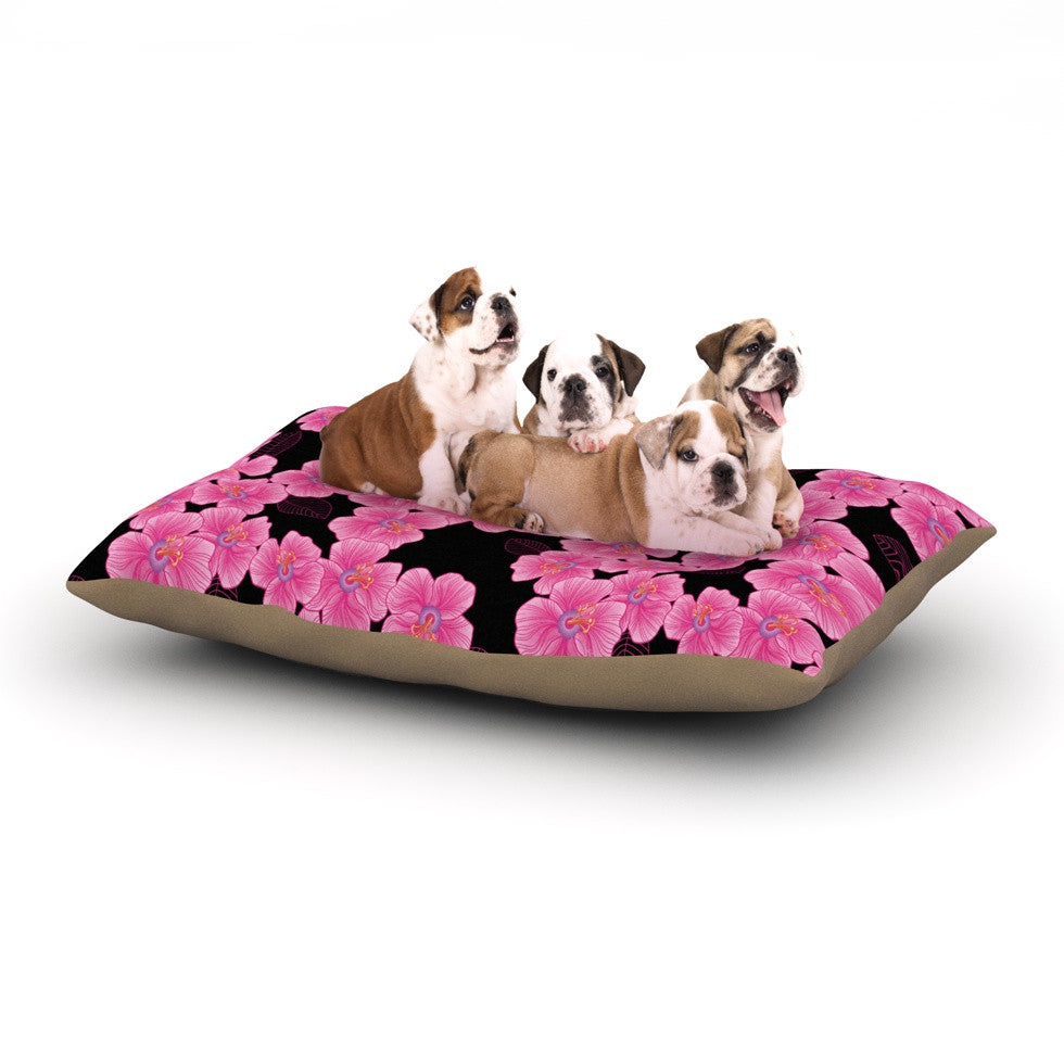 "Julia Grifol ""Pink on Black"" Dog Bed - KESS InHouse  - 1"