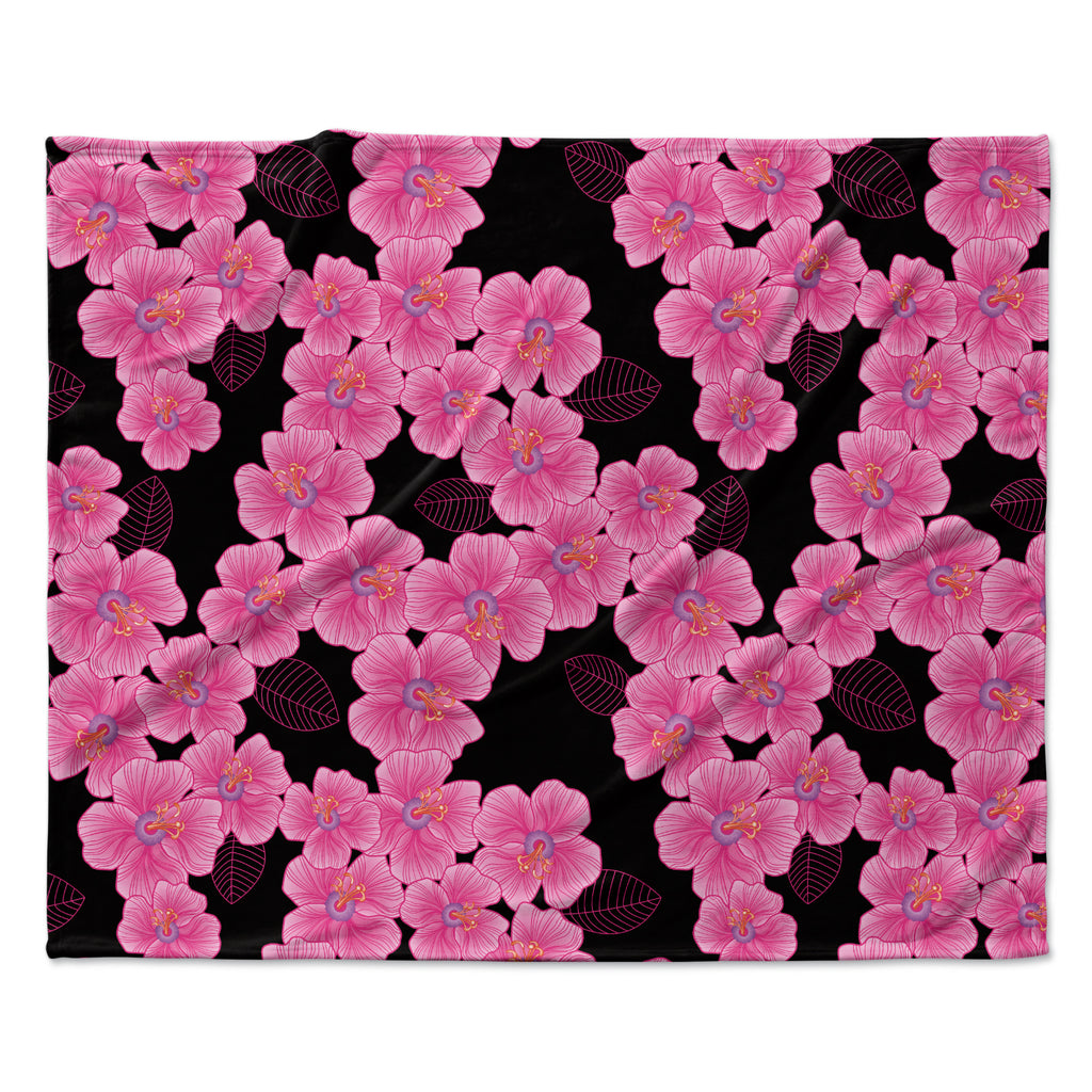"Julia Grifol ""Pink on Black"" Fleece Throw Blanket"
