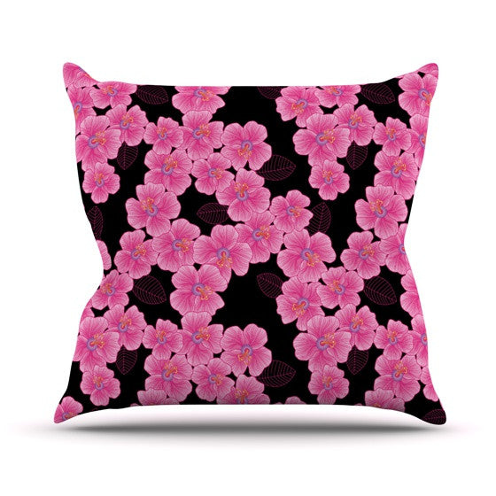 "Julia Grifol ""Pink on Black"" Outdoor Throw Pillow - KESS InHouse  - 1"