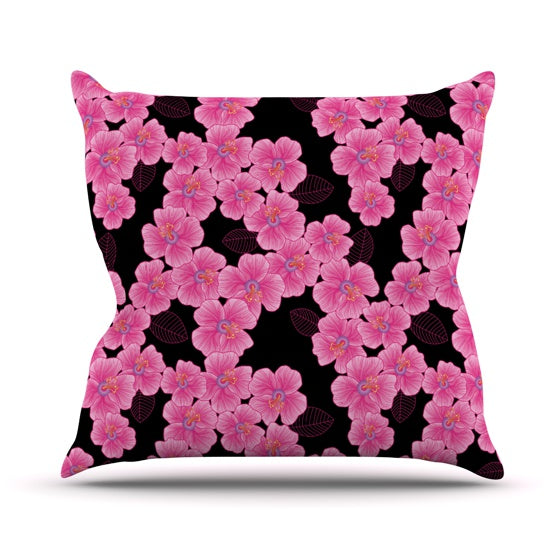 "Julia Grifol ""Pink on Black"" Throw Pillow - KESS InHouse  - 1"