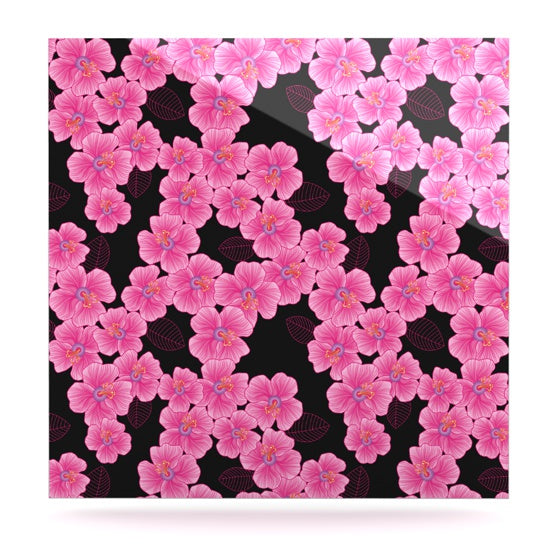 "Julia Grifol ""Pink on Black"" Luxe Square Panel - KESS InHouse  - 1"