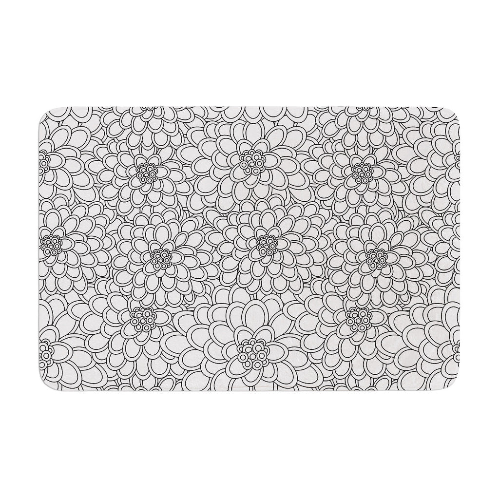 "Julia Grifol ""White Flowers"" Memory Foam Bath Mat - KESS InHouse"