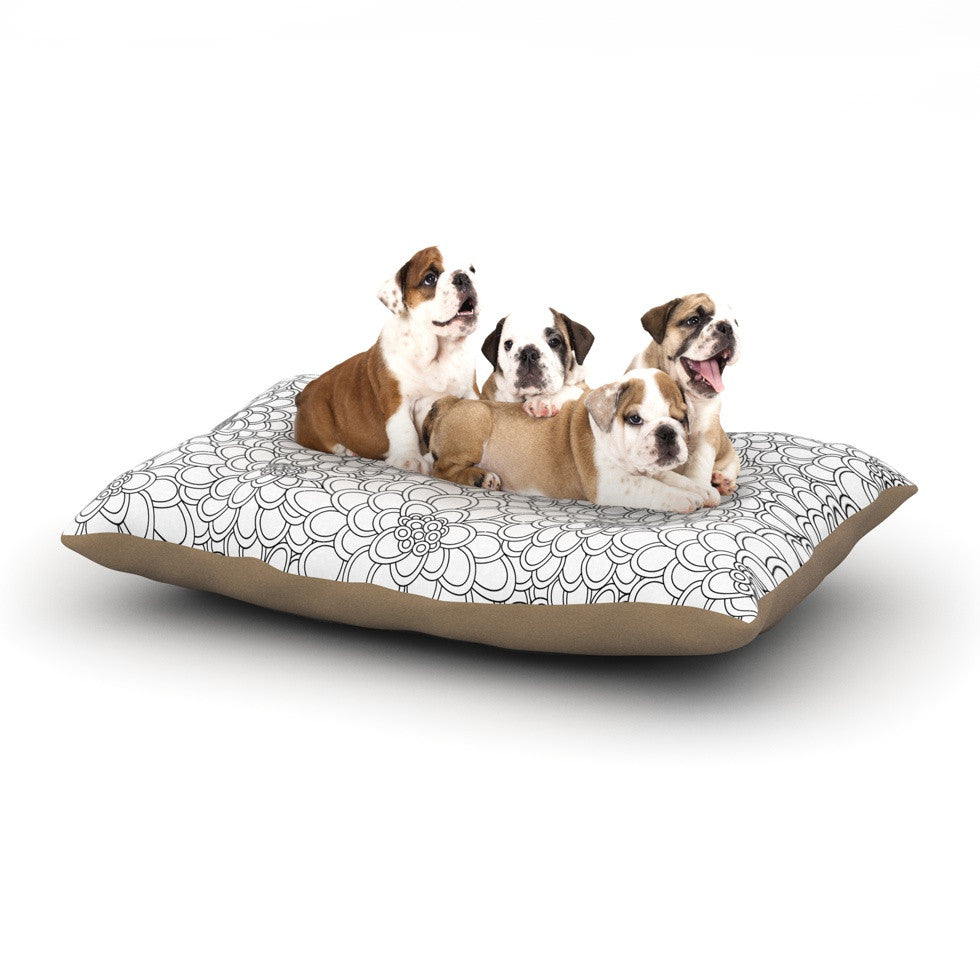 "Julia Grifol ""White Flowers"" Dog Bed - KESS InHouse  - 1"
