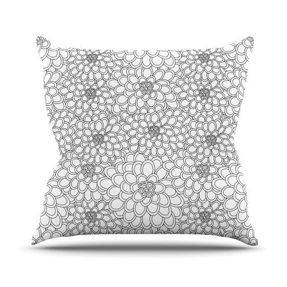 "Julia Grifol ""White Flowers"" Outdoor Throw Pillow - KESS InHouse  - 1"