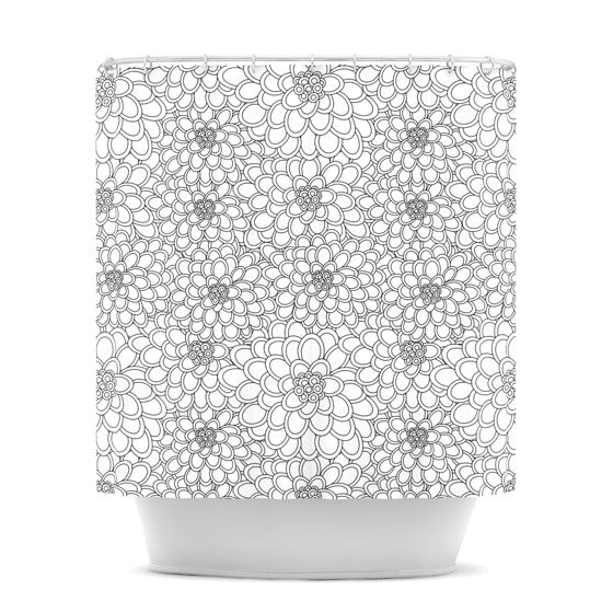 "Julia Grifol ""White Flowers"" Shower Curtain - KESS InHouse"