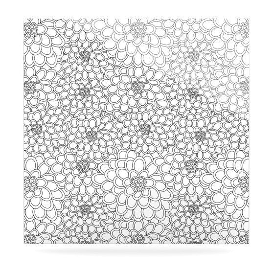 "Julia Grifol ""White Flowers"" Luxe Square Panel - KESS InHouse  - 1"