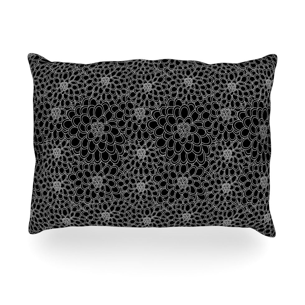 "Julia Grifol ""Black Flowers"" Dark Floral Oblong Pillow - KESS InHouse"