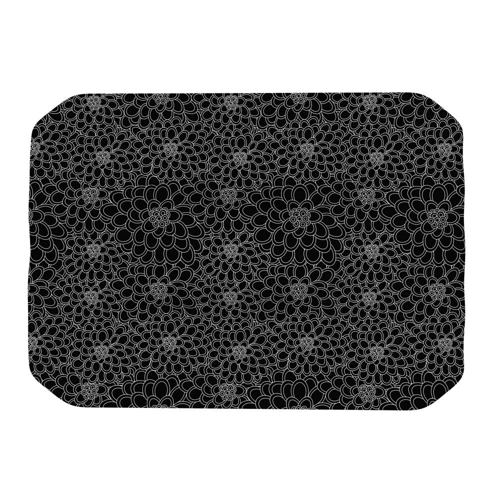 "Julia Grifol ""Black Flowers"" Dark Floral Place Mat - KESS InHouse"