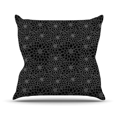 "julia grifol ""Black Flowers"" Dark Floral Outdoor Throw Pillow - Outlet Item"