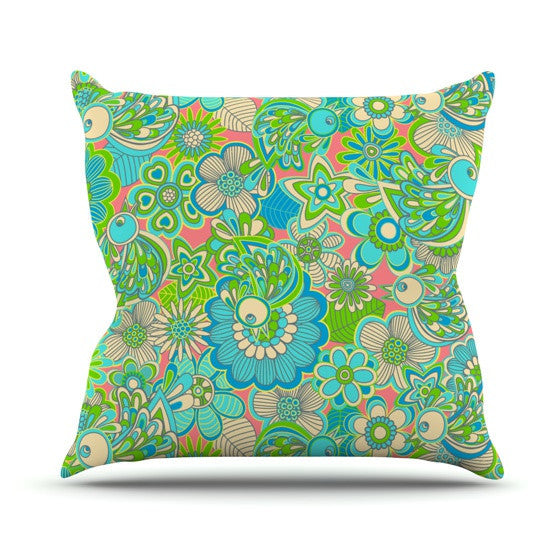 "Julia Grifol ""Welcome Birds to my Garden"" Outdoor Throw Pillow - KESS InHouse  - 1"