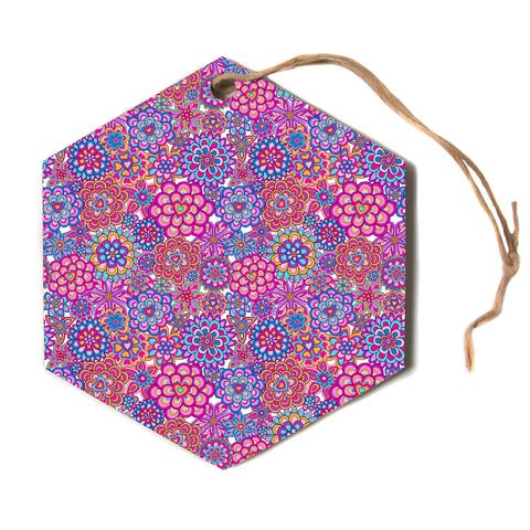 "julia grifol ""My Happy Flowers""  Hexagon Holiday Ornament"